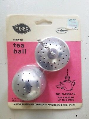 Vintage MIRRO Aluminum Screw Top TEA BALL No. S-2556-15 NEW in Pkg Made in USA