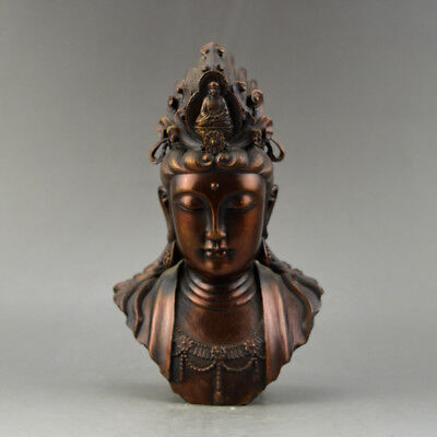 Chinese old collection handwork bronze Guanyin head Buddha statue