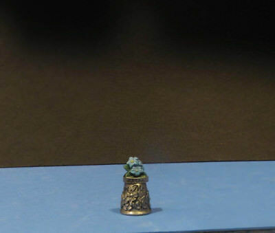 ALASKA  Forget me Not pewter Thimble Hand Painted