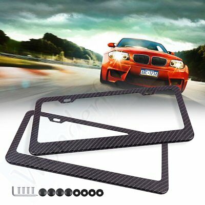 2x Carbon Fiber Look License Plate Frame Cover With Screw Caps for Lexus/Honda