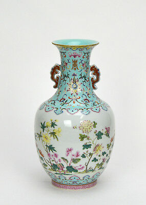Important Chinese Turquoise Glazed Famille Rose Flowers Porcelain Vase