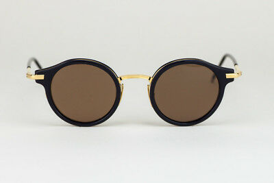 4096315ce76 THOM BROWNE TB-807 D T NVY-GLD-45 Round Navy Frame with Brown Lens ...
