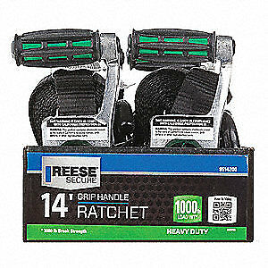 REESE Tie Down Strap,Ratchet,Poly,14 ft., 9514200, Black