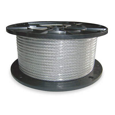 DAYTON 304 Stainless Steel SS Cable,3/32 In,500 Ft,184 Lb Capacity, 1DLC4
