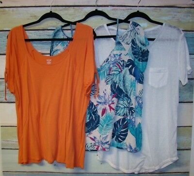 Lot Of 3 Women's Size Xl Tops, Two W/ Cold Shoulder, One Sheer Short Sleeve