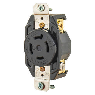 BRYANT Nylon Locking Receptacle,Black,125/250VAC,20A, 71420FR, Black