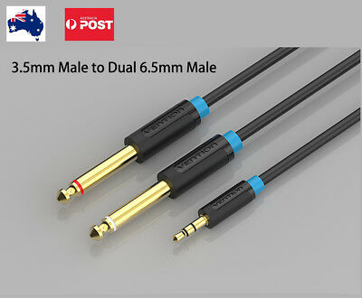 3.5mm To 2 dual 6.5mm Jack Adapter Male To Male Audio Cable Guitar 1m 2m 3m 5m
