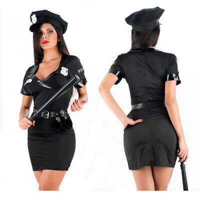 Black Police Party Costume Sexy Female Police Uniform Style Cosplay Costume