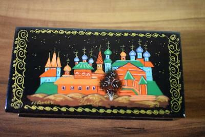 Stunning Vintage Russian Laquer Handpainted Papier Mache Trinket Box Signed