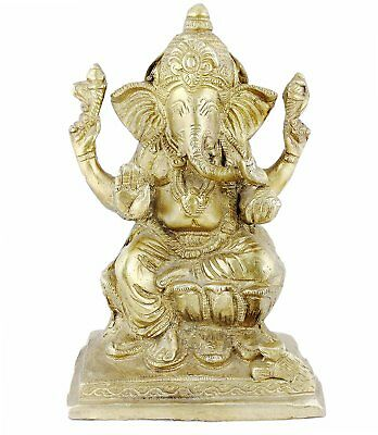 "Lord Ganesha Sitting On Throne Statue Hinduism Brass 6.5"" x 4.5"" x 3"""