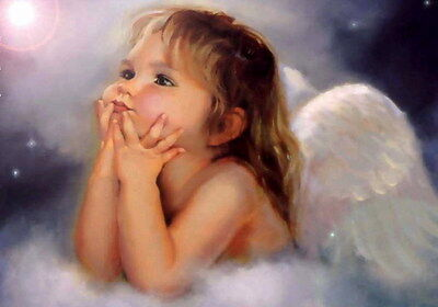 """Canvas Print Oil Painting Picture Lovely Angel portrait on canvas 16""""x24"""" L150"""