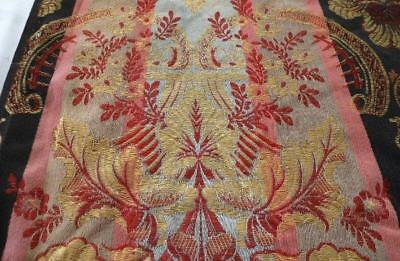 Antique Tapestry French Brocade Fabric Silky Gold Thread Red Art Deco Urn