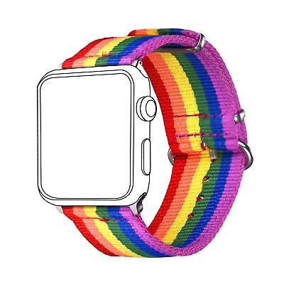 Wrist Band Strap For Apple iWatch LGBT Pride Rainbow Colors 42mm All New Items