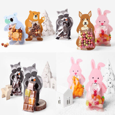 10Pcs Cute Animal OPP Bags Cards Kid Wedding Favour Sweet Biscuit Party Gift Bag