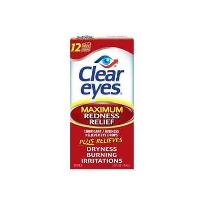 New Lot of 2 Clear Eyes Maximum Redness Relief - 0.5 fl oz