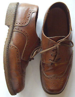 JOHN FRITH Mens Shoes, Vintage Oxford Brogue, Size AUS 8, Lace Up Brown, Rubber