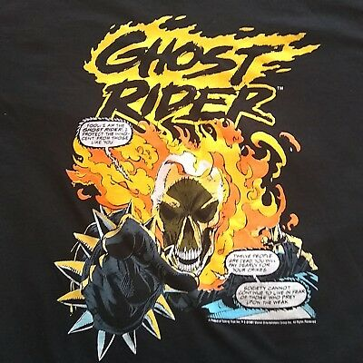 Vintage 1991 NOS Ghost Rider T-Shirt White Large Rare Marvel Black Talking Tops