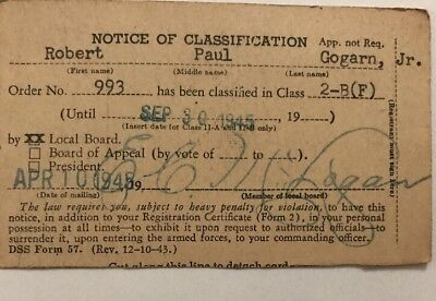 Vintage 1945WW2 Army Draft Notice of Classification Postcard