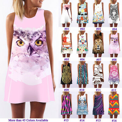 Lovely Pink Owl Print A-Line Tank Top Mini Dress Womens Prom Party Tunic Shirts