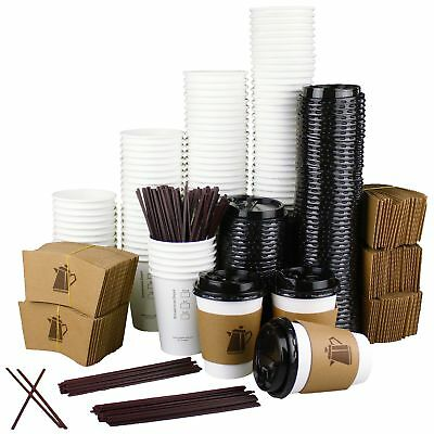 12 oz - 100 Pack Disposable White Paper Coffee Cups with Lids Sleeves
