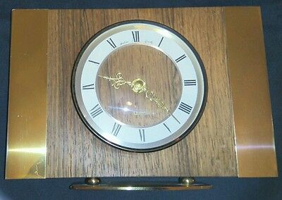 Bentima Mantle Clock Quartz Retro Chic Brass & Oak