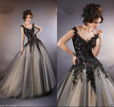 Black/Lace Tulle Wedding Dress Bridal Gown Ball Gown Prom Formal Stock size 6-20