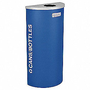 TOUGH GUY Steel, Plastic Recycling Container,Blue,8 gal., 5UJD8, Blue