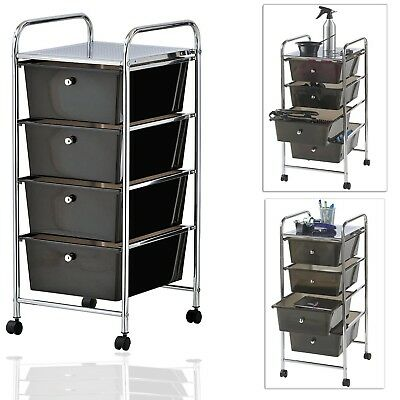 VonHaus 4 Drawer Black Trolley on Wheels for Office,Home Use or Make-up & Beauty