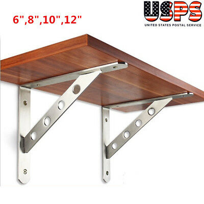 "6"",8"",10"",12"" 2pcs Wall Mounted Shelf Bracket L Shaped Supporter Heavy Duty US"