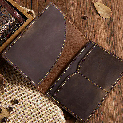 Classic Leather Passport Holder Wallet Case Cover Ticket Travel Brown Bag A+~