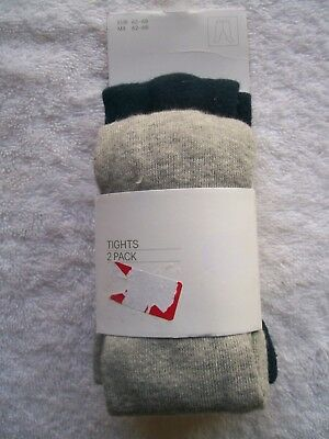 BNIP Baby Boy's/Girl's H & M 2 Pack Navy & Grey Stockings/Tights Size 000 - 00