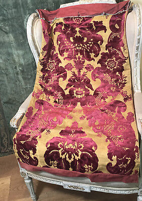 Cisele  Cut Silk Velvet Metallic Gold Ground Italian C17th  Venetian Pillow Case