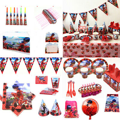 Miraculous Ladybug Girls Birthday Party Tableware Supplies Decor Plates Balloons