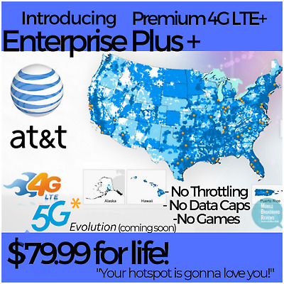 At&t Unlimted Data Sim Card On UNTHROTTLED $29.99/month Plan For Hotspot Tablet