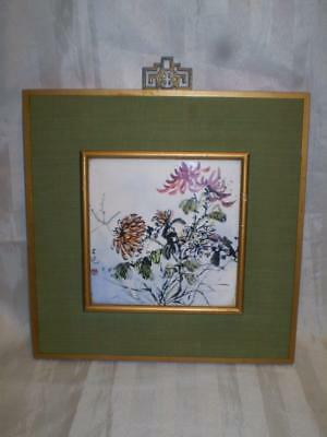 old chinese famille rose hand painted porcelain tile floral