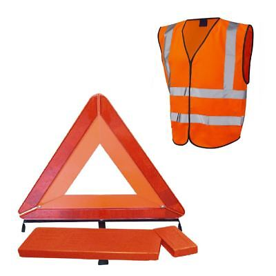 Large Reflective Warning Triangle Sign & Orange Safety Vest / Emergency Recovery