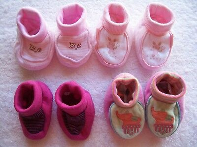 Baby Girl's Pink Booties/Bootees/Slippers x 4 Incl Pumpkin Patch Size XS VGUC