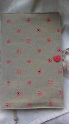Handmade Shabby Chic Fabric Book or Notebook cover. Standard A5.  Book lovers