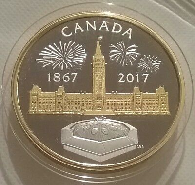 1867-2017 Centennial Flame Parliament $50 Silver Proof Canada Puzzle Piece Coin.