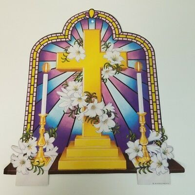VINTAGE BEISTLE CO. EASTER DIE-CUT CARDBOARD DECORATION ~ Gold Cross & Lillies