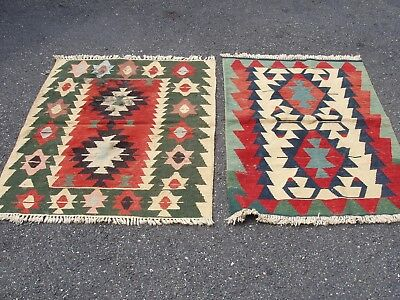 """Antique Vintage TWO Made in Turkey 100%  Wool 47"""" x 37"""" Small Carpets Rugs"""