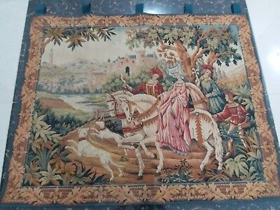 """Antique 19c Aubusson French Tapestry Beautiful Color Rcae View 37""""X47""""(Cm 94×119"""