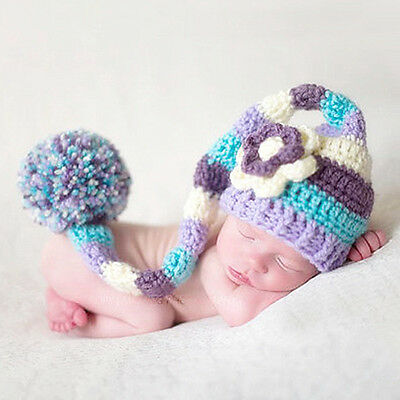 Baby Colorful Flower Hat Cap Crochet Knitted Photography Newborn Photo Props