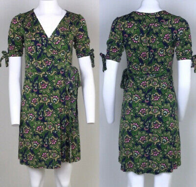 ff5df81d3351 LILLY PULITZER VINTAGE 100% Silk Floral Mod print wrap dress Small ...