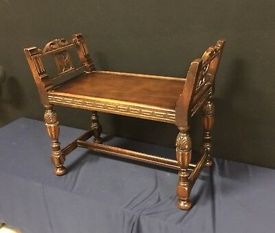 Antique Carved Solid Oak Vanity Bench Jacobean, Union National