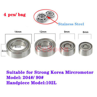 4Pcs Dental Micro Motor Handpiece Bearing Ball Steel Marathon Micromotor Kit