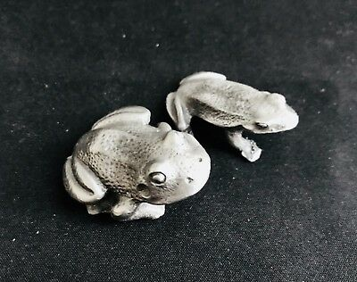 Set of 2. Pewter Frogs Pond Ribbit Reptile Silver Metal Figurine Statue