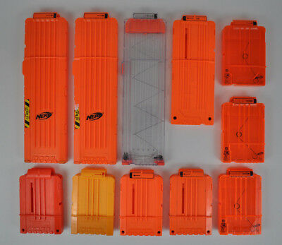 Lot of 11 NERF Magazine Clips N-Strike Clear Orange Yellow 18 12 6 Rounds