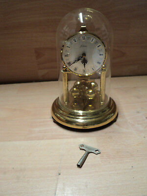 Pretty Vintage KEIN Anniversary Clock -  Glass Dome, With Key, Germany, Overwoun