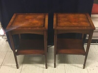 Vintage Pair Leather-Top Mahogany Square Nightstands/End Tables Brandt Furniture